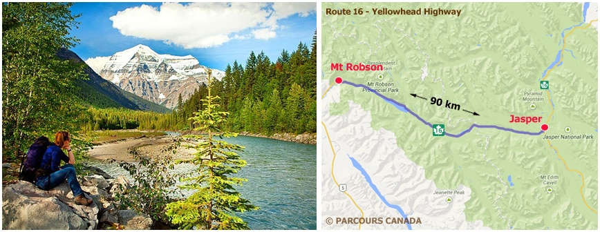 Carte YellowHead Highway ouest Canada