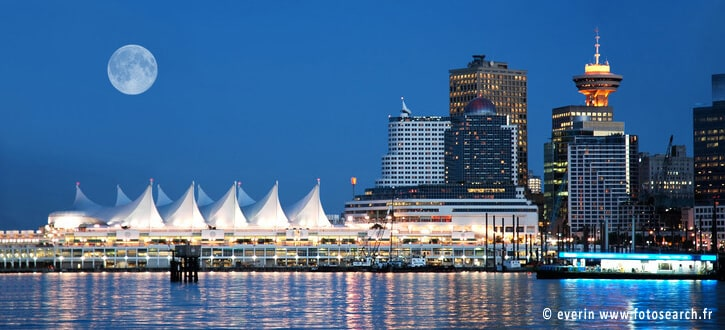 Vancouver Canada Place by night